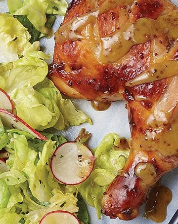 Pernas de frango assado com mostarda e mel
