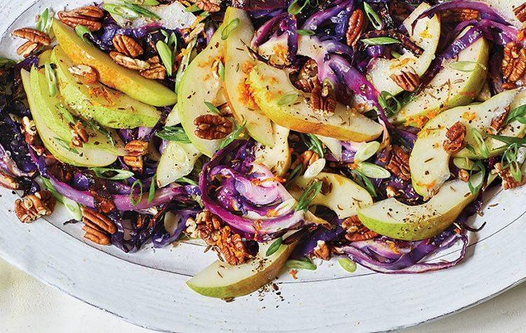 Salada de Couve Assada com Peras