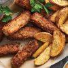 Bifes Crocantes com Batatas Fritas no Forno